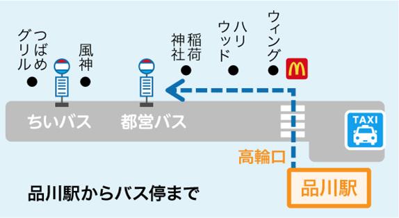 品川駅からバス、タクシー(5分)